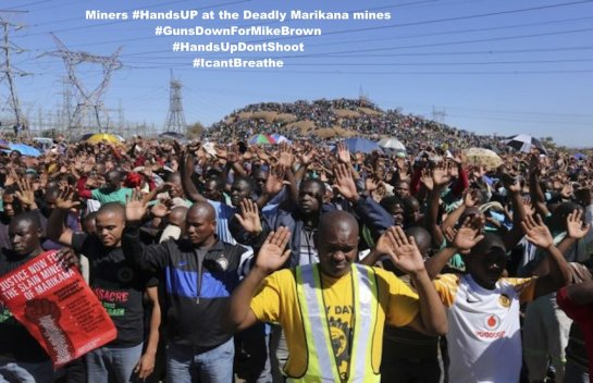 Miners #HandsUp at the Marikana mines one year from shooting